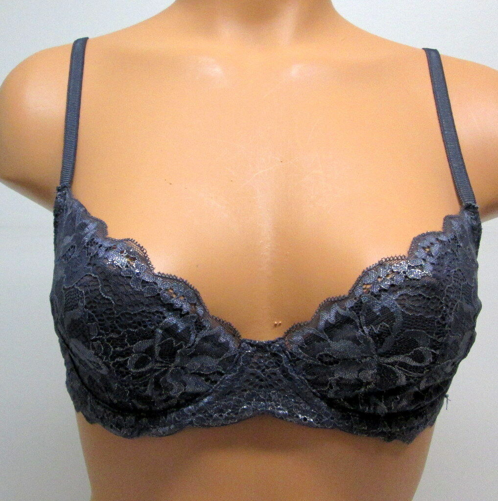 NEW Victoria Secret  Desire Unlined Demi Bra - 32D - Metallic Lace NWD