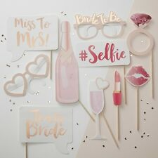 'Team Bride' Pink and Gold Photo Booth Props,  Hen Party, Bachelorette