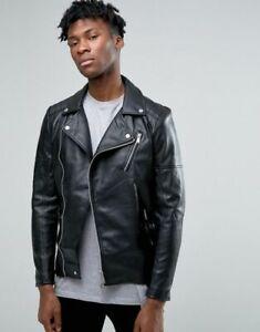 60% clearance great deals retail prices Details about Men's Pull & Bear Faux Leather Look Biker Jacket Coat Black  Zip Pockets S/M/L/XL