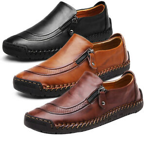 Men-Slip-On-Leather-Zip-Casual-Formal-Driving-Shoes-Loafers-Moccasins-Trainers