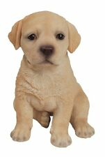Sitting Yellow LABRADOR Puppy Dog - Life Like Figurine Statue Home / Garden NEW