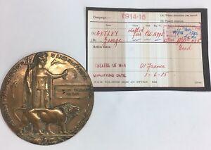 Antique WW1 Death/Memorial Plaque Private George Getley Regt No 16995 1/6/1915