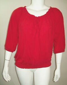 Lane-Bryant-Womens-Top-Size-22-24-Red-Smocked-Hem-Tie-Neck-Billowy-Half-Sleeve