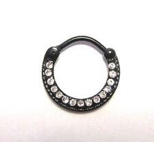 Black Titanium Clear CZ Crystals Ring Round Hoop Snap in 16 gauge 16g
