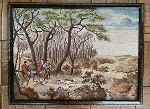 Vintage Hunting Outdoorsmen With Hound Dogs Tapestry In Wood Frame