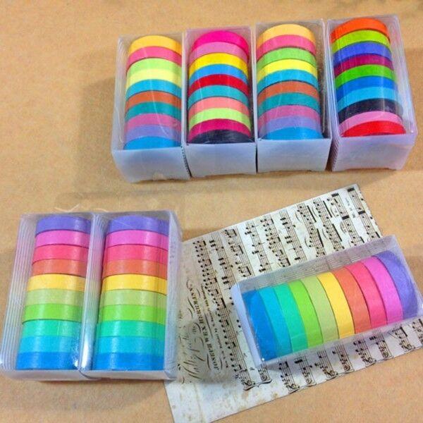 10x Rainbow Washi Sticky Paper Colorful Masking Adhesive Tape Scrapbooking DIY