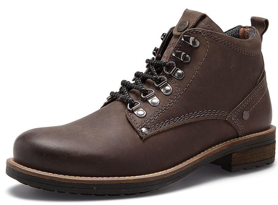 Wrangler Hill Peak Cuero Con Cordones botas al Tobillo gris