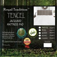 Lyocell Eucalyptus Tencel Jacquard Blend Fitted Topper, Ultra-soft Mattress Pad