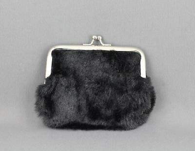 Silver soft Faux leather coin purse change pouch kiss lock snap top metal frame