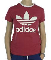 New Adidas Originals Trefoil Logo Top T-Shirt - Pink - Ladies Womens Girls