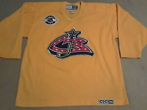 brand new dc28d bf207 Details about CCM Canada Columbus Blue Jackets NHL Center Ice Authentic  Yellow Practice Jersey