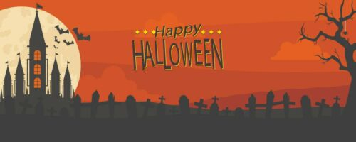 Happy Halloween Scary Night Haunted House Outdoor Party Decor Vinyl Banner Sign