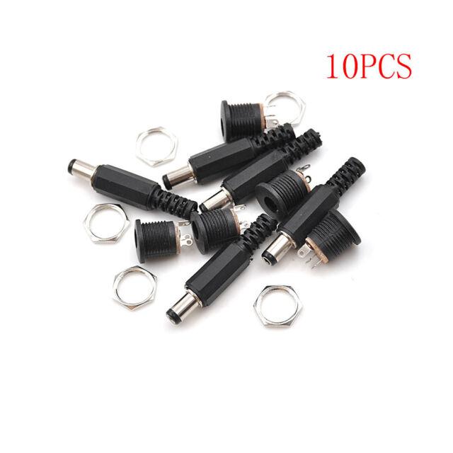 10PCS Female Plug Jack+Male Plug Jack Socket Adapter Connector 5.5*2.5 mm DC0nw