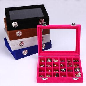 Jewelry-Ring-Organizer-Tray-Holder-Earring-Storage-Case-Display-Box-Velvet-Glass