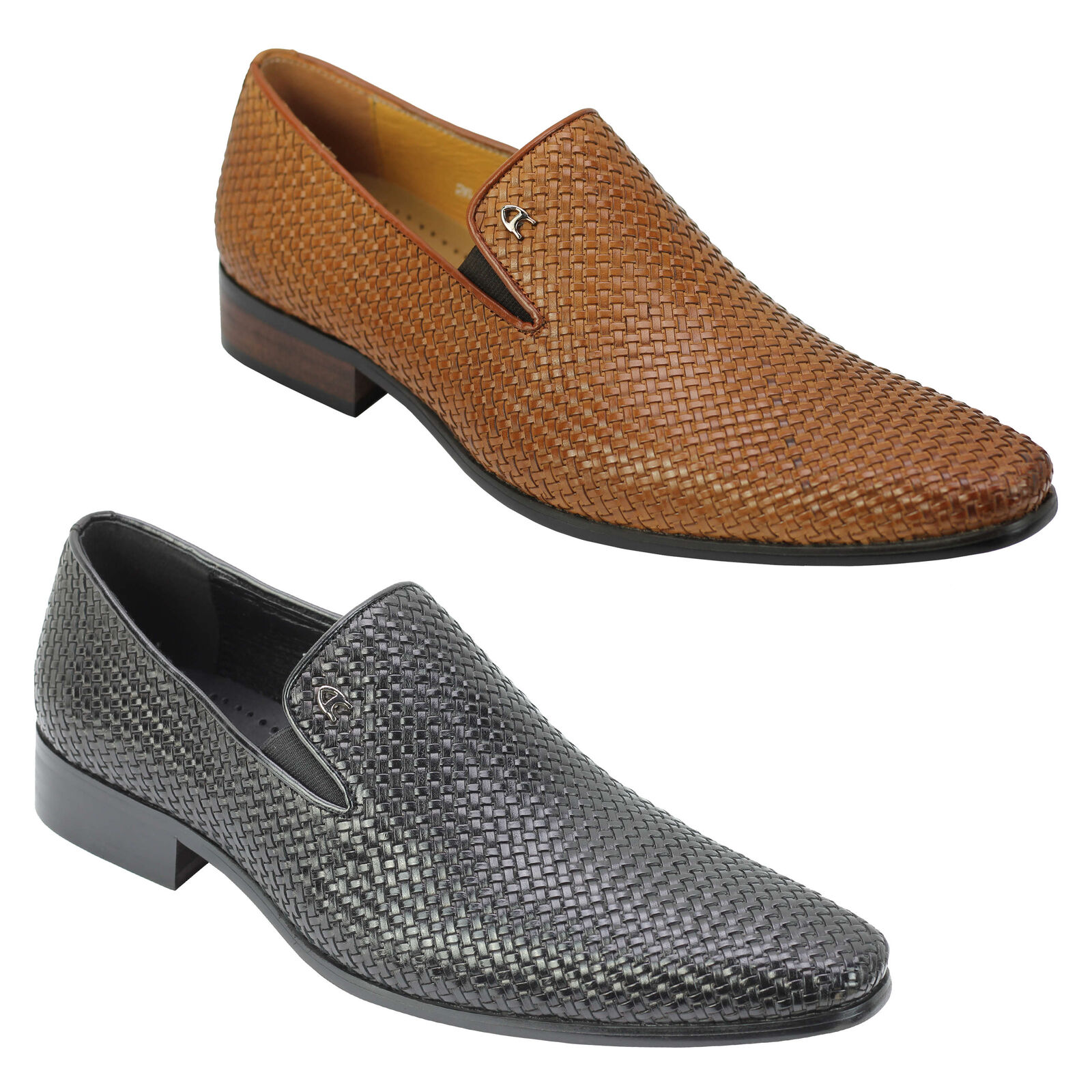 Mens Retro Hand Woven Real Leather Vintage Loafers Formal Slip on Dress schuhe   | München
