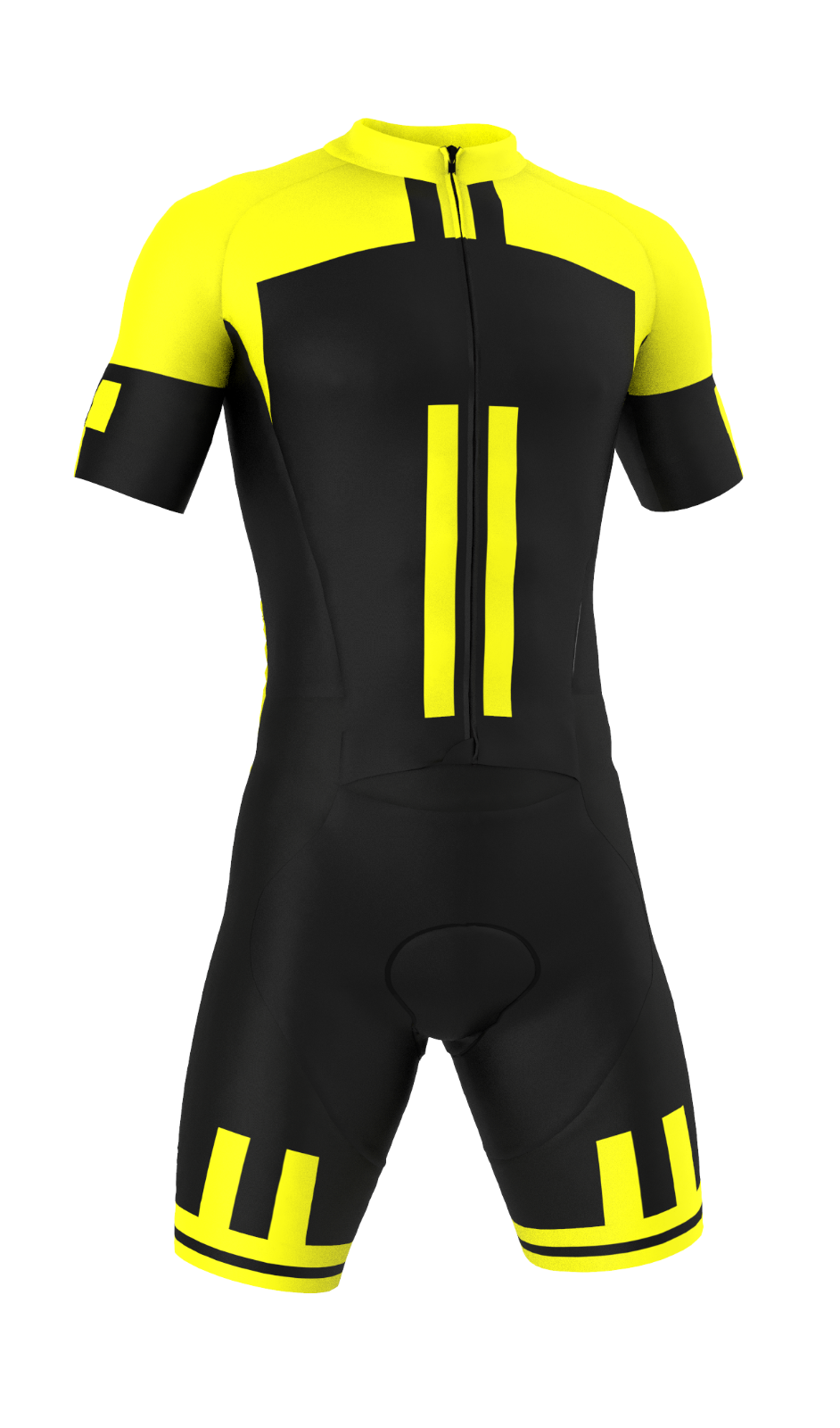 PRO Short Sleeve 'Giallo Nero' Cycling Road Suit (Skinsuit) Made in  by GSG
