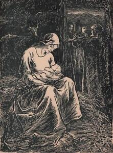 EVELEEN-BUCKTON-1872-1962-Signed-Woodcut-NATIVITY-SCENE-c1930