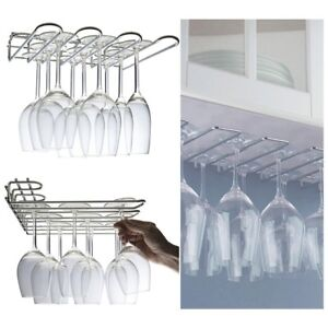 Wall-Mounted-Under-Kitchen-Cupboard-Counter-Storage-Rack-Wine-Glasses-Flutes-UK