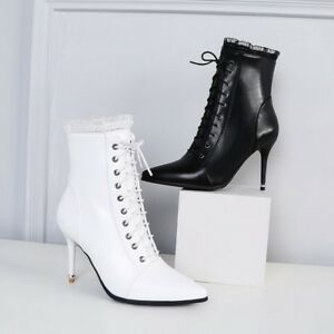 d76004d9bd8b Elegant Lace Leather Slim Heels Sexy Zip Ladies Ankle Boots Pointed ...