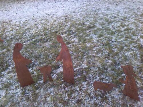 Edelrost  Metall Gartenstecker Hirte Weihnachten