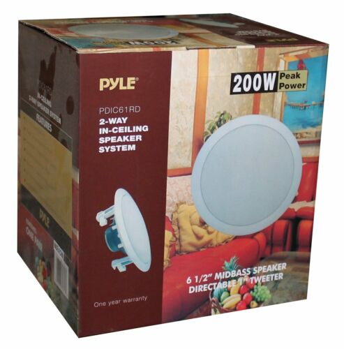 PYLE PRO PDIC61RD 6.5/'/' 200W 2-Way In-Ceiling//Wall Speaker System White 6 Pack