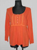 MIA LINEA Damen Langarm Shirt Tunika mit Biesen Gr.44/46 orange  ##R2