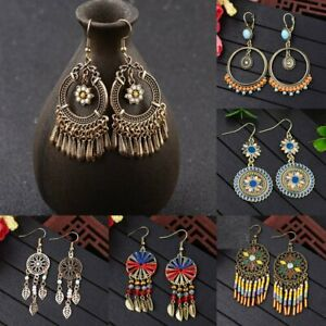 Retro-Bohemian-Ethnic-Tassel-Colorful-Wooden-Beads-Dangle-Stud-Women-Earrings