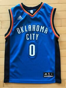 new arrival fe4e5 3563e Details about Youth Sz M Adidas Oklahoma City Thunder Russell Westbrook  Jersey Blue NBA