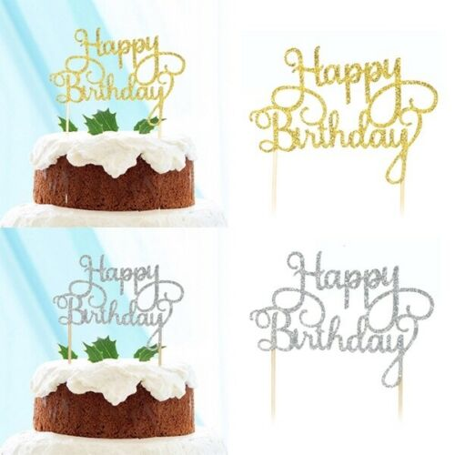 New Shining Happy Birthday Party Supplies Decoration Cake Topper Paper Decor ca