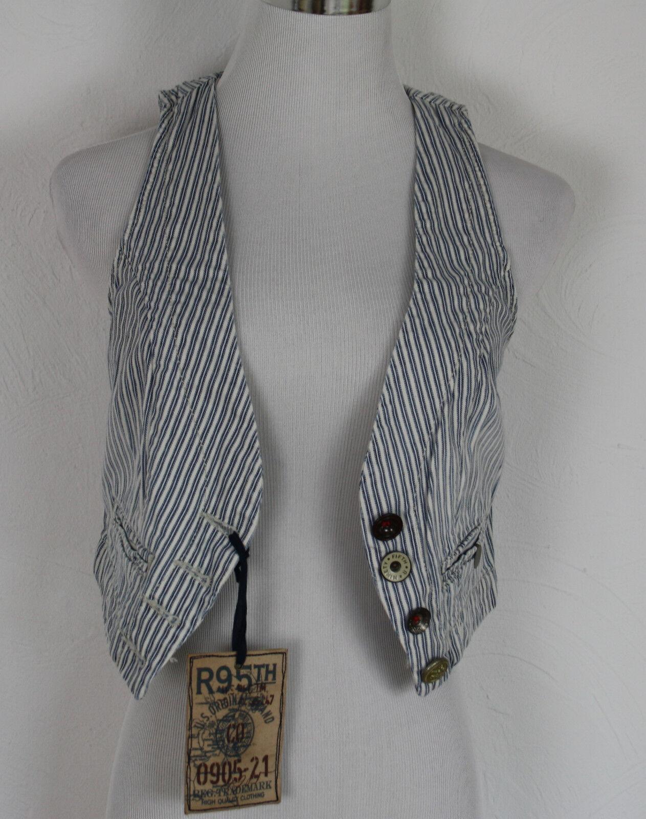 R95th Vest Gilet Denim bluee White Striped