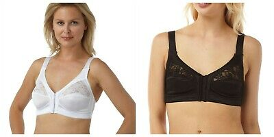 Marlon Front Fastening Bra Non Wired Soft Cup Comfort Bras Size 34-48 B-E NEW