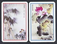 #950.1040 vintage swap card -MINT pair- Chinese watercolours, flowers & birds