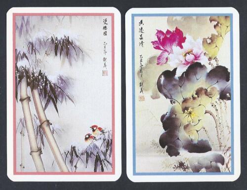 flowers /& birds MINT pair Chinese watercolours #950.1040 vintage swap card