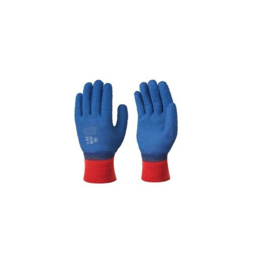 12 pr x GG17 Blue Crinkle Latex Work Gloves Fully Coated Cotton Knitted Liner