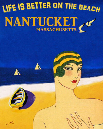 POSTER NANTUCKET MA LIFE IS BETTER ON THE BEACH SAILBOAT VINTAGE REPRO FREE S//H