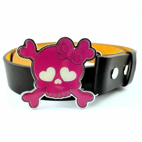 Pink Skull /& Crossbones Pirate Belt Buckle Biker Gothic Emo Girls Ladies