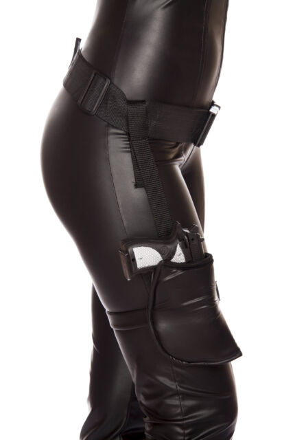 With Buckles Black Leg Holster Deluxe for Adults One Size Attaches to a Belt
