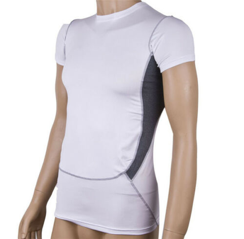 Mens Compression Short Sleeve Base Layer Tops Plain Sports Gym Fitness T-Shirt