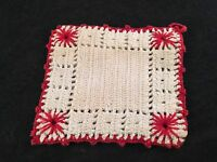 VINTAGE HAND CROCHET RED & WHITE POTHOLDER