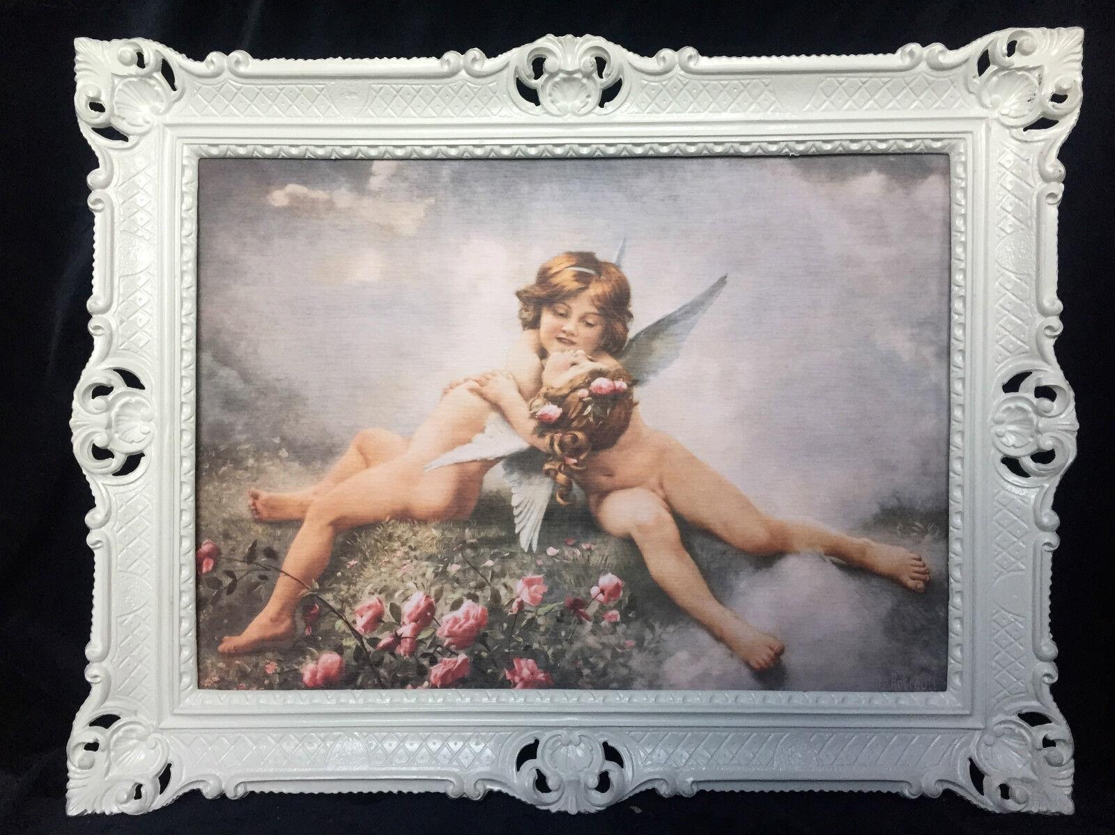 Schutzengel Engel Mädchen Wandbild 70x90 Schlafzimmer Heilige Bild Bilderrahmen