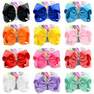 JoJo Siwa Pure Color Hair Bow With Alligator Clip Girl Kids Bowknot  8 inch