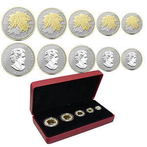 2014-Canadian-Silver-Maple-Leaf-Fractional-Coin-Set-Gold-Gilded-OGP-COA