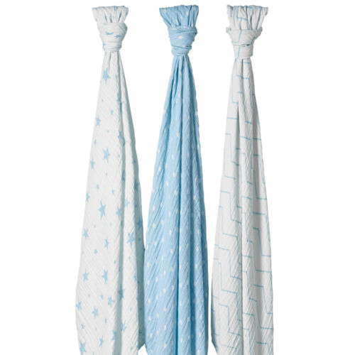 Bloomsbury Mill Muslin Swaddles Baby Cloths Stars Polka Fabric Blanket 3 Pack
