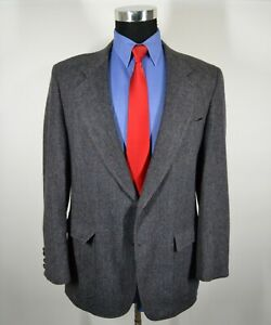 Pendleton-42R-Sport-Coat-Blazer-Suit-Jacket-Navy-Gray-Herringbone-Wool-USA