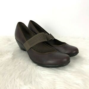 Privo-Clarks-8-M-Womens-Brown-Leather-Mary-Jane-Comfort-Heels