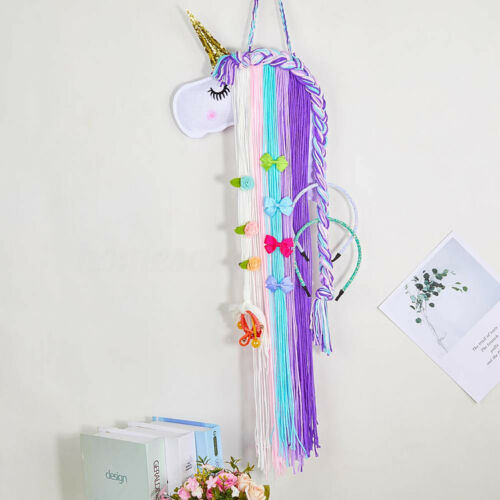 Unicorn Hair Clips Holder Organizer Hairband Knitted Handmade Wall Hanging Decor