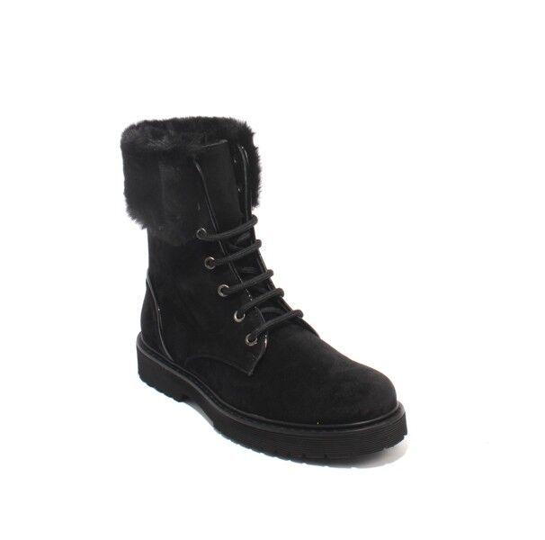 Alberto La TORRE 4252 Black Suede   Faux Fur Lace-Up Ankle Boots 39   US 9