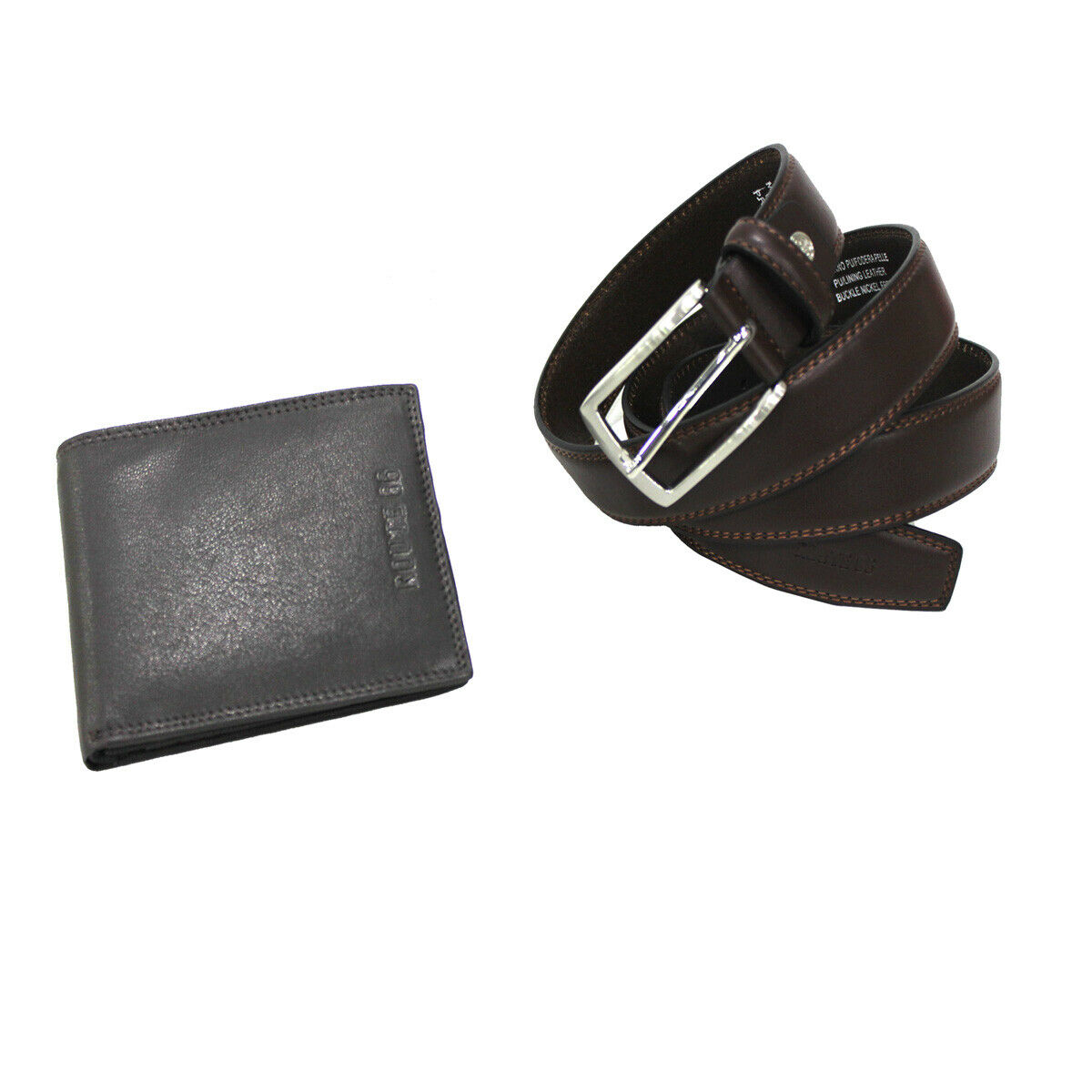 Men's set belt in faux leather height 35 mm size 125 and leather wallet in box