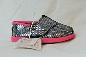 BOBS-by-Skechers-Slip-On-Casual-Shoes-Gray-Glitter-Toddler-Girls-5-6-Velcro-NEW