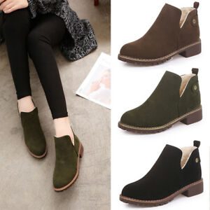 058fe2dd4781 Women Chunky Fur Lining Ankle Boots Winter Warm Snow Booties Low ...